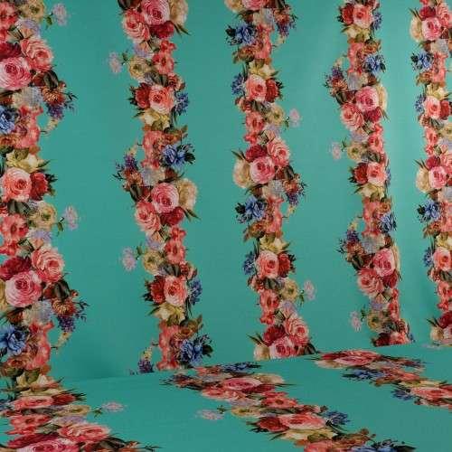 Guirnaldas flores fondo turquesa