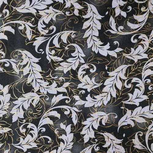 Tela de flores para mantel, servilletas  en tonos grises, negro y oro