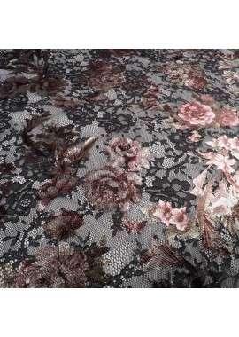 Encaje chantilly estampado foil