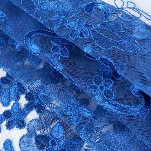 Tul bordado azulón