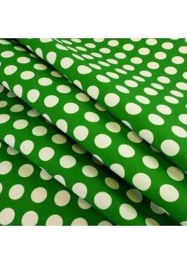 Popelina de lunares verde y blanco