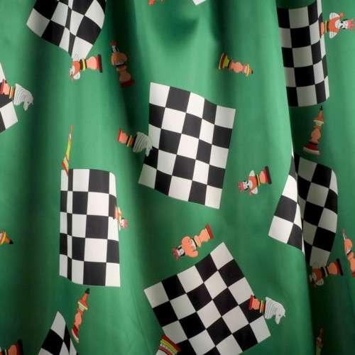 Satén ajedrez verde