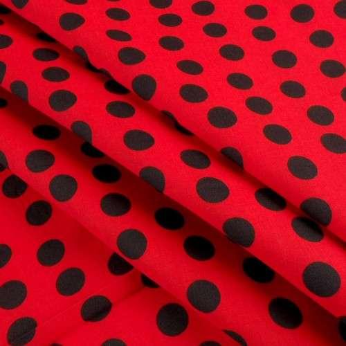Popelina de lunares rojo y negro