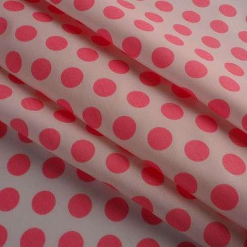 Popelina de lunares blanco y rosa