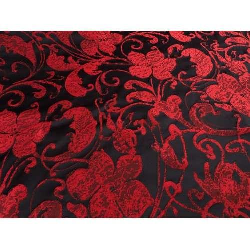 Jacquard arabesco floral rojo negro