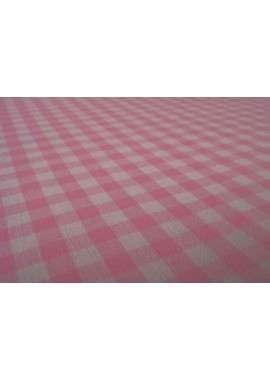 Vichy Algodón blanco y rosa